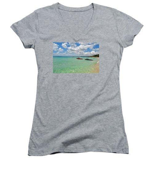 Women's V-Neck T-Shirt (Junior Cut) featuring the photograph Argostoli Greece Beach by Robert Moss