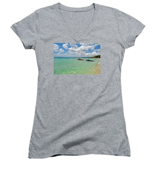 Argostoli Greece Beach Women's V-Neck T-Shirt