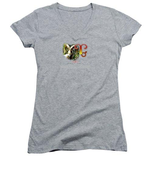 Aries Sun Sign Women's V-Neck T-Shirt (Junior Cut) by Shelley Overton