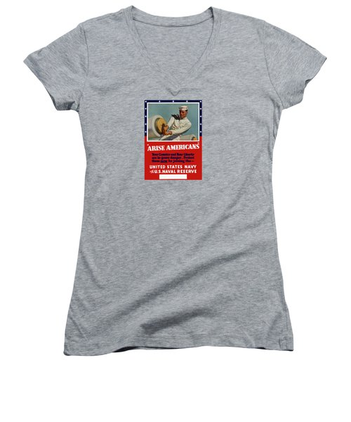 Arise Americans Join The Navy  Women's V-Neck