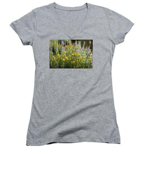 Women's V-Neck T-Shirt (Junior Cut) featuring the photograph Arizona Spring Wildflowers  by Saija Lehtonen
