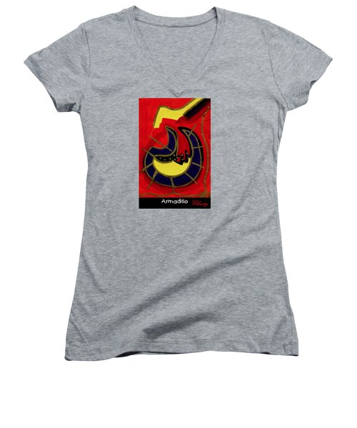 Armadillo Women's V-Neck T-Shirt (Junior Cut) by Clarity Artists