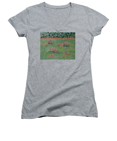 Women's V-Neck T-Shirt (Junior Cut) featuring the painting Armadillos In The Yard by Hilda and Jose Garrancho