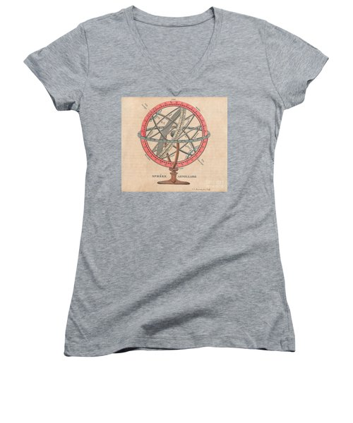 Armillary Sphere  Women's V-Neck T-Shirt (Junior Cut) by Sergey Lukashin