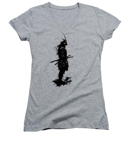 Women's V-Neck T-Shirt (Junior Cut) featuring the mixed media Armored Samurai by Nicklas Gustafsson