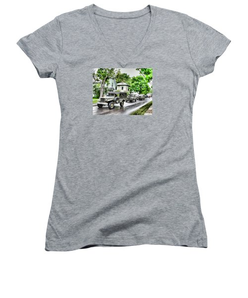 Army Jeeps On Parade Women's V-Neck (Athletic Fit)