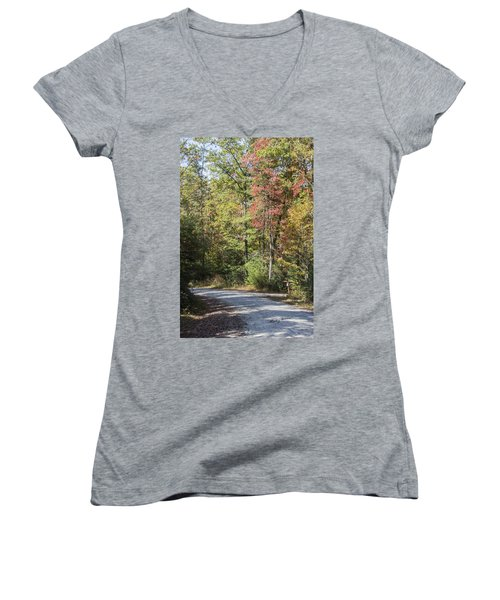 Around The Bend Women's V-Neck T-Shirt (Junior Cut) by Ricky Dean
