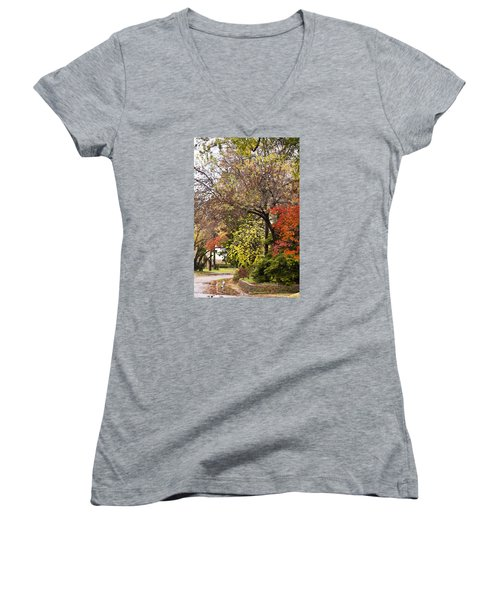 Women's V-Neck T-Shirt (Junior Cut) featuring the photograph Around The Corner by Joan Bertucci