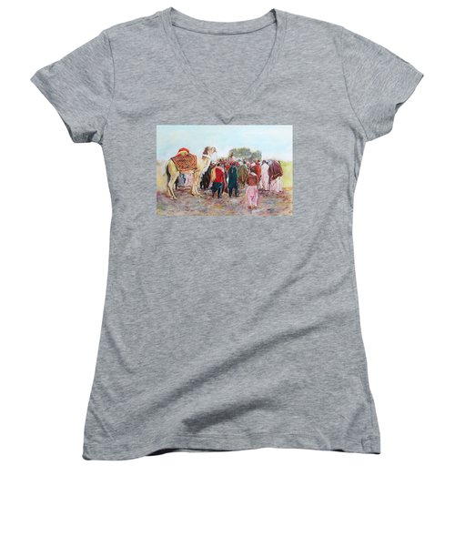 Around The Music Party Women's V-Neck T-Shirt