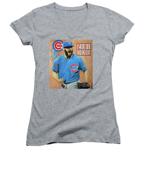 Arrieta No Hitter - Vol. 1 Women's V-Neck T-Shirt (Junior Cut) by Melissa Goodrich