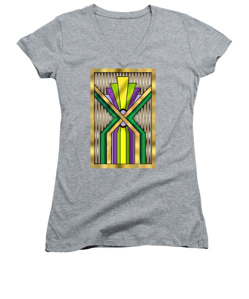 Art Deco 14 B Transparent Women's V-Neck T-Shirt (Junior Cut) by Chuck Staley