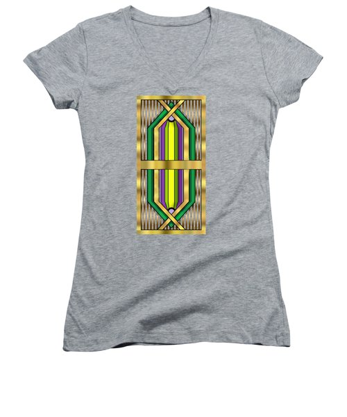 Art Deco 14 Vertical Women's V-Neck T-Shirt
