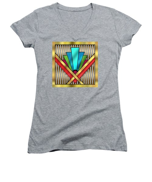 Art Deco 15 Transparent Women's V-Neck (Athletic Fit)