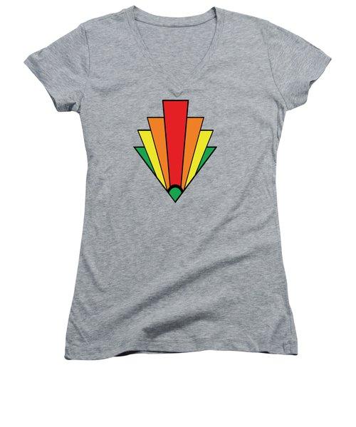 Art Deco Chevron - Chuck Staley Women's V-Neck T-Shirt (Junior Cut) by Chuck Staley