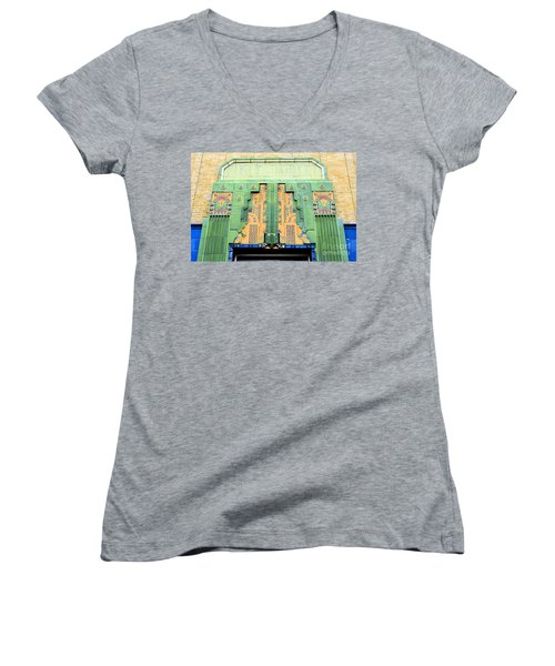 Art Deco Facade At Old Public Market Women's V-Neck T-Shirt (Junior Cut) by Janette Boyd