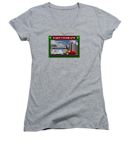 Women's V-Neck T-Shirt (Junior Cut) featuring the digital art Art Deco Street Scene Christmas Card by Stuart Swartz