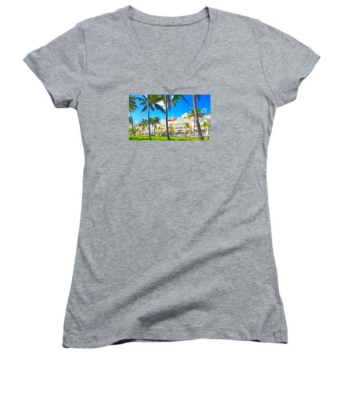 Women's V-Neck T-Shirt (Junior Cut) featuring the painting Art Deco Style by Judy Kay