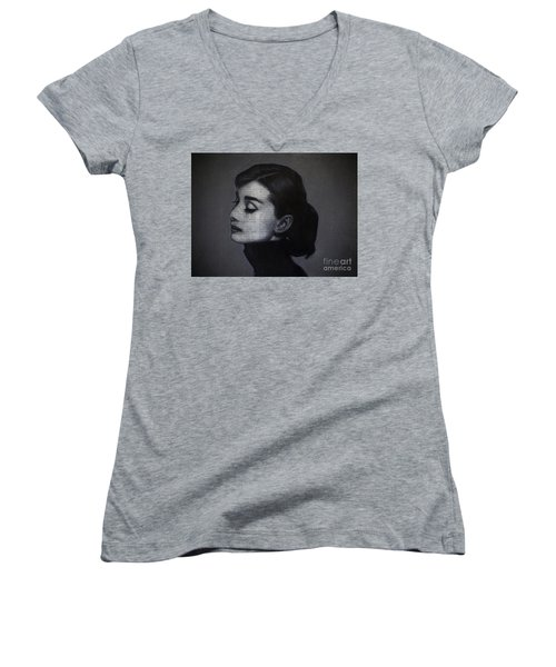 Art In The News 98-audrey Hepburn Women's V-Neck (Athletic Fit)