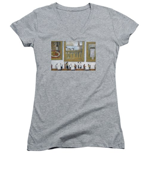 Women's V-Neck T-Shirt (Junior Cut) featuring the painting Art Is Long, Life Is Short by Glenn Quist