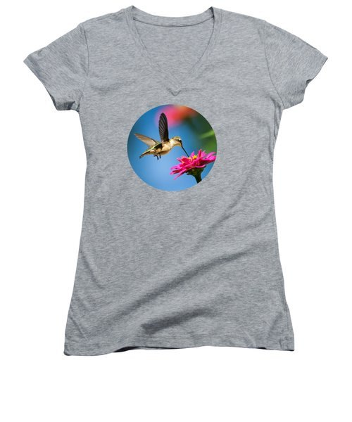 Art Of Hummingbird Flight Women's V-Neck T-Shirt (Junior Cut) by Christina Rollo