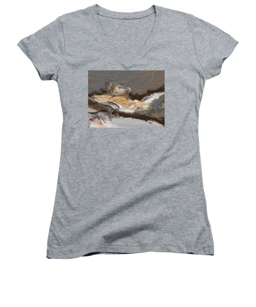 Art Rupestre Women's V-Neck T-Shirt (Junior Cut)