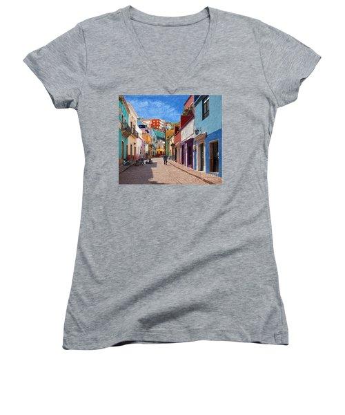 Women's V-Neck T-Shirt (Junior Cut) featuring the photograph Art Students Drawing A Street In Guanajuato by John Kolenberg