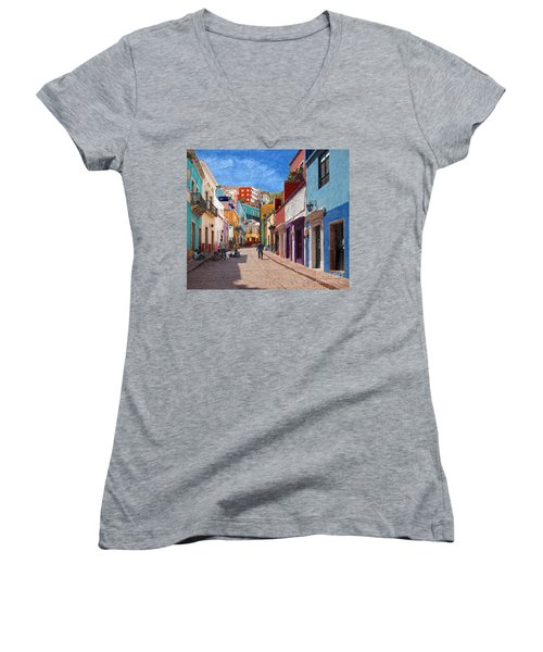 Art Students Drawing A Street In Guanajuato Women's V-Neck T-Shirt