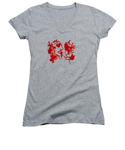 Art Watercolour Kiss Women's V-Neck T-Shirt