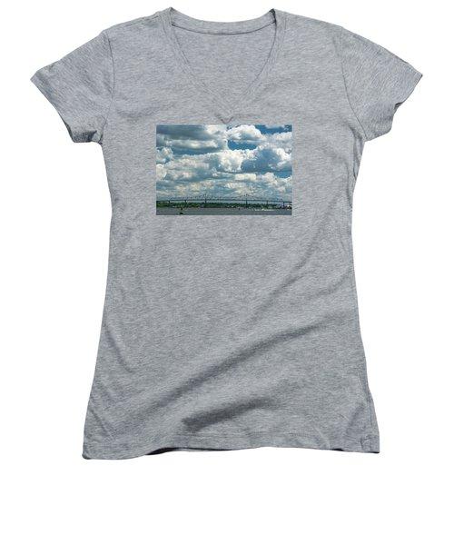 Arthur Kill And Outerbridge Crossing Women's V-Neck T-Shirt