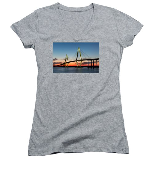 Arthur Ravenel Bridge, Charleston At Twilight Women's V-Neck