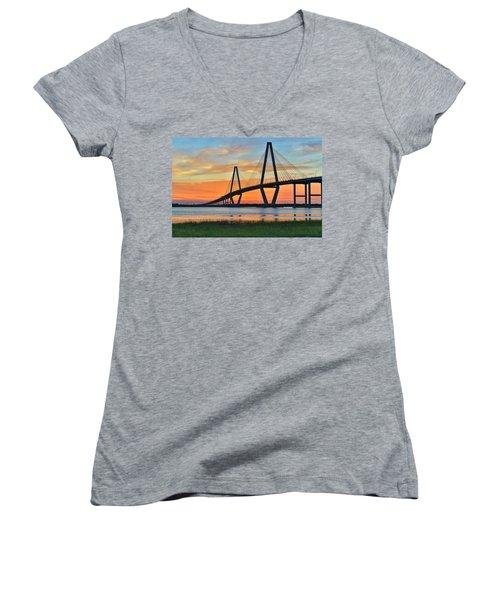 Arthur Ravenel Jr. Bridge At Dusk - Charleston Sc Women's V-Neck