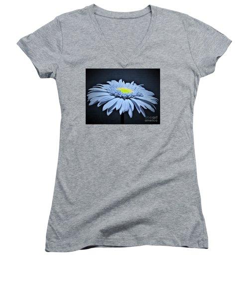 Artic Blue Gerber Daisy Women's V-Neck T-Shirt