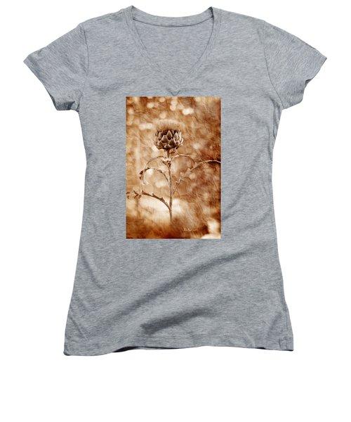 Artichoke Bloom Women's V-Neck T-Shirt (Junior Cut) by La Rae  Roberts
