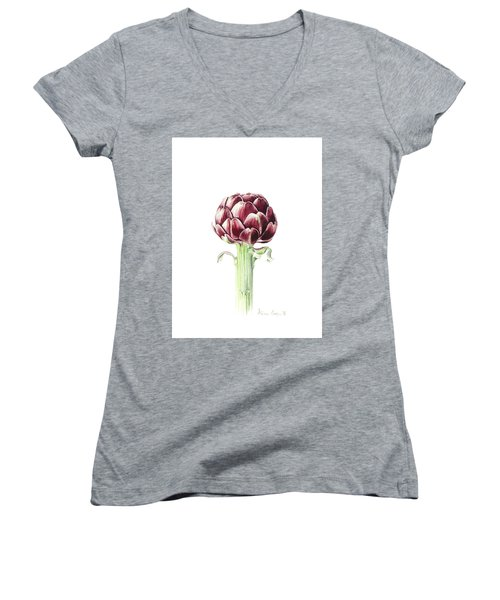 Artichoke From Roman Market Women's V-Neck T-Shirt (Junior Cut) by Alison Cooper