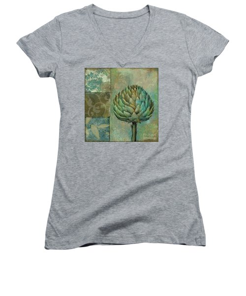 Artichoke Margaux Women's V-Neck T-Shirt (Junior Cut) by Mindy Sommers