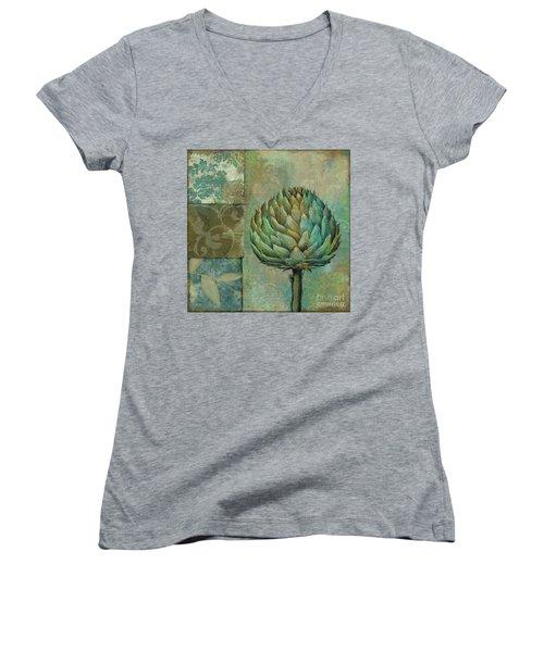 Artichoke Margaux Women's V-Neck T-Shirt (Junior Cut) by Mindy Sommers