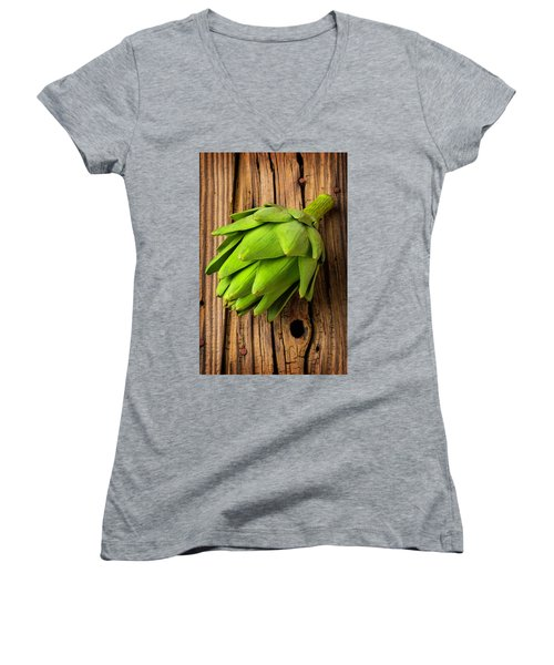 Artichoke On Old Wooden Board Women's V-Neck T-Shirt (Junior Cut) by Garry Gay
