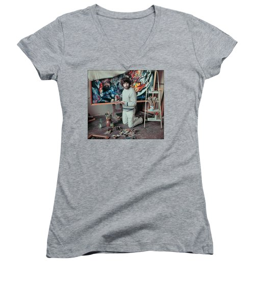 Artist In His Studio Women's V-Neck (Athletic Fit)