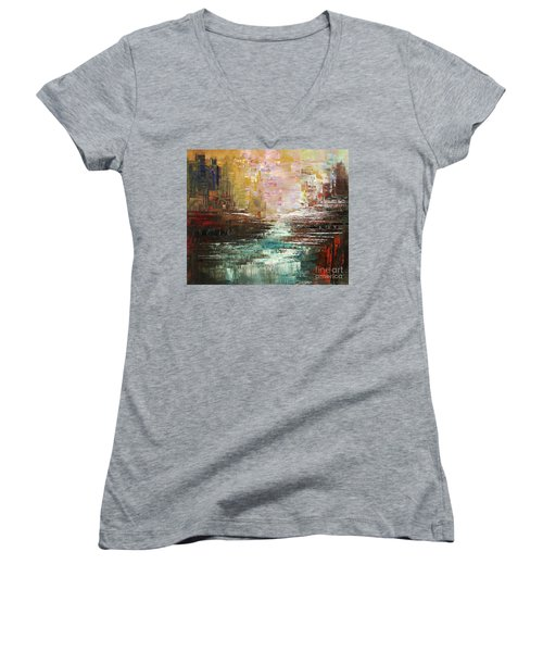 Artist Whitewater Women's V-Neck T-Shirt (Junior Cut) by Tatiana Iliina
