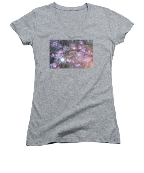 Women's V-Neck T-Shirt (Junior Cut) featuring the digital art Artist's View Of A Dense Galaxy Core Forming by Nasa