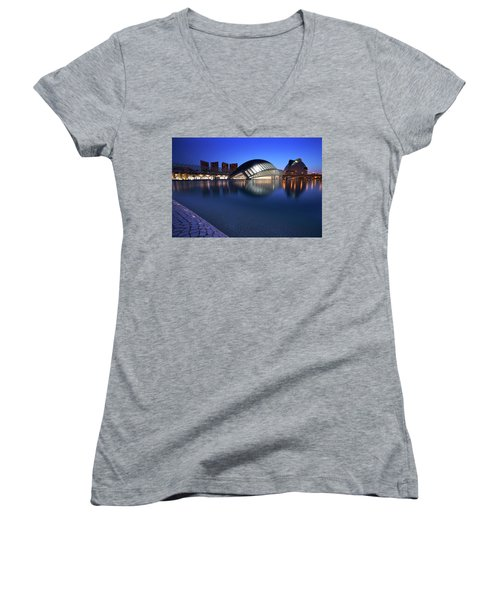 Arts And Science Museum Valencia Women's V-Neck T-Shirt (Junior Cut) by Graham Hawcroft pixsellpix