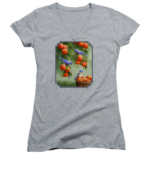 Bird Painting - Bluebirds And Peaches Women's V-Neck T-Shirt (Junior Cut) by Crista Forest