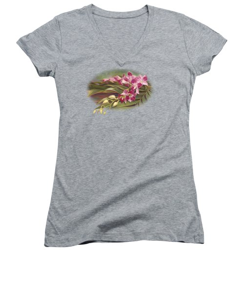 Dendrobium Orchids Women's V-Neck T-Shirt (Junior Cut) by Lucie Bilodeau