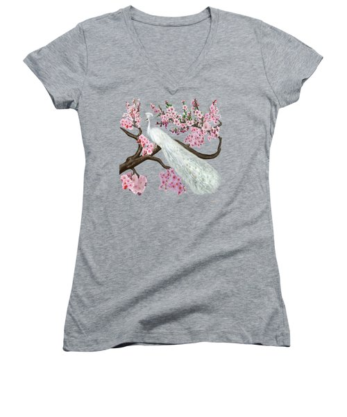 Cherry Blossom Peacock Women's V-Neck T-Shirt