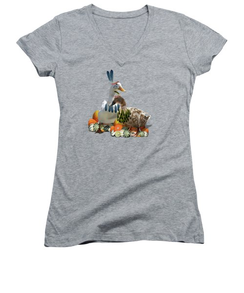 Thanksgiving Indian Ducks Women's V-Neck T-Shirt