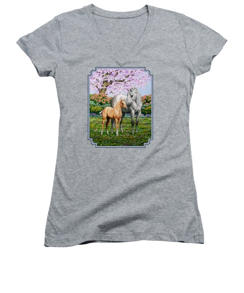 Spring's Gift - Mare And Foal Women's V-Neck