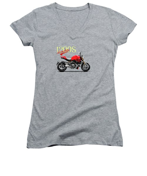 Ducati Monster Women's V-Neck T-Shirt (Junior Cut) by Mark Rogan