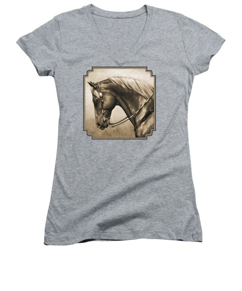 Western Horse Painting In Sepia Women's V-Neck T-Shirt (Junior Cut) by Crista Forest