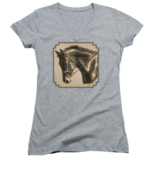 Horse Painting - Focus In Sepia Women's V-Neck (Athletic Fit)