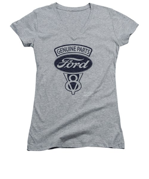 Ford V8 Women's V-Neck T-Shirt (Junior Cut) by Mark Rogan